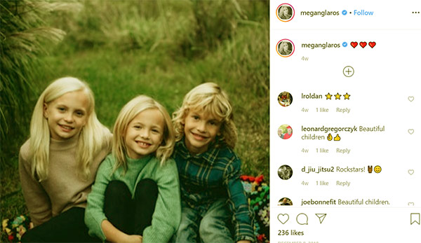 Image of Caption: Megan Glaros kids daughters Willow and Lana, and son Leo