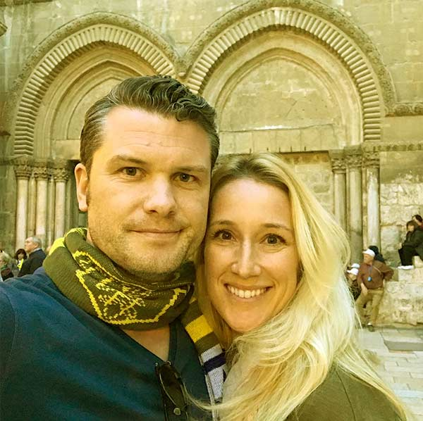 Image of Jennifer and Pete clicked a selfie in front of the church